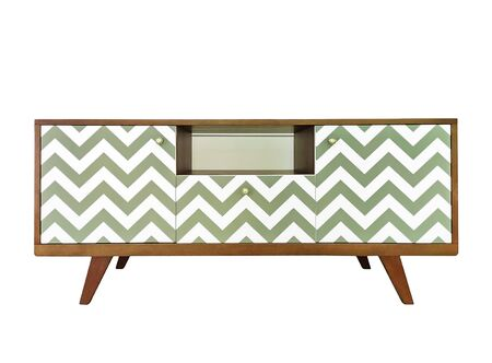 Contemporary white wooden TV stand, bureau with boxes. Modern designer commode isolated on white background. Scandinavian style sideboard furniture with geometric pattern zigzag print