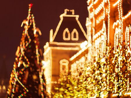 Christmas illuminations and decorations of Christmas and New Year in Moscow, Russia. Red Square