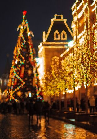 Christmas illuminations and decorations of Christmas and New Year in Moscow, Russia. Red Square. Stockfoto