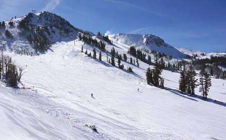 Skiing in snow mountain