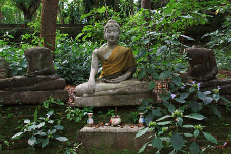 Ancient statues of Buddha in a forest temple (Chiangmai, Thailand) Stock Photo
