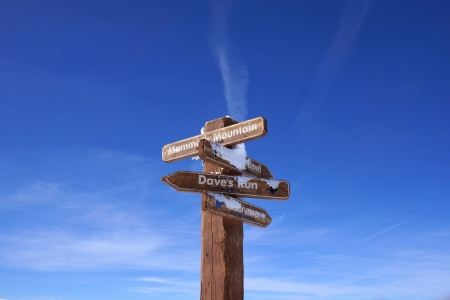 Wooden signpost against blue sky