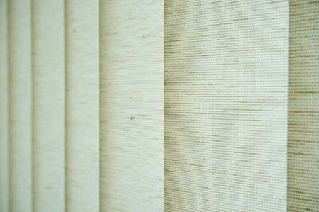 Close up of natural styled fabric vertical blind curtain