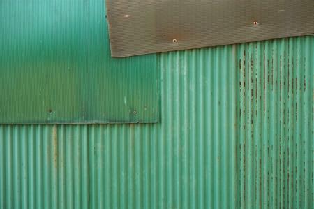 Green rusty corrugated iron