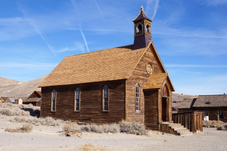 Old wooden church in ghost town, California