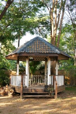 Abandoned old pavilion in a garden in Thailand Stock Photo
