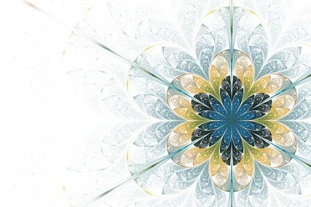 elliptic: Fractal Flower on White Background Stock Photo