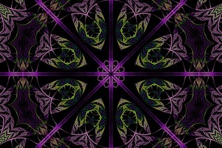 Purple and Green Fractal Mandala photo