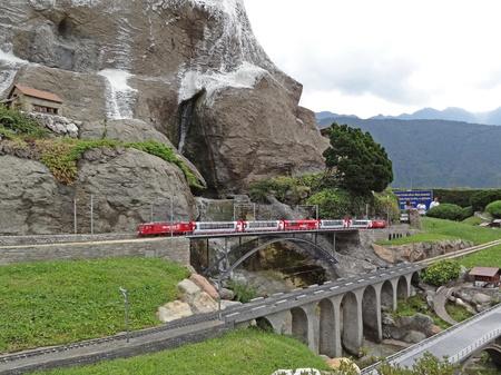 Swiss Miniatur, Melide, Switzerland -  July 8 2011: Miniatur of Swiss Glacier Express Train