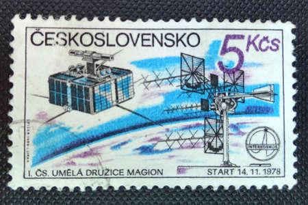 CZECHOSLOVAKIA - CIRCA 1980: A stamp shows 1st Czechoslovak Satellite Magion, part of space programme Intercosmos, circa 1980