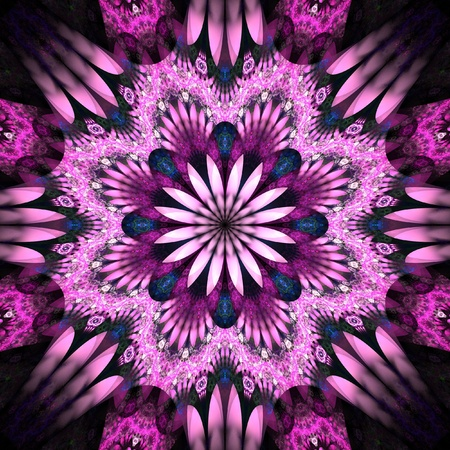 kaleidoscope: Pink Fractal Flower Stock Photo