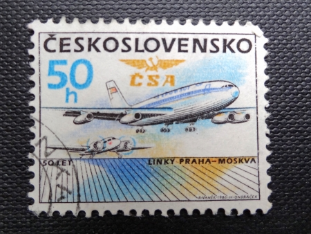 former years: CZECHOSLOVAKIA - CIRCA 1986: Stamp printed in former CZECHOSLOVAKIA  celebrates 50 Years of Prague-Moscow Air Service, circa 1986                                Editorial