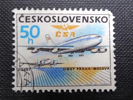former years: CZECHOSLOVAKIA - CIRCA 1986: Stamp printed in former CZECHOSLOVAKIA  celebrates 50 Years of Prague-Moscow Air Service, circa 1986                                Editorial
