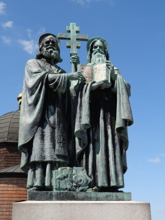 constantine: Radhost, Beskydy Mountains, Czech Republic-May 19 2012: Bronze Statue of Saint cyril and Methodius by Albin Polasek Editorial