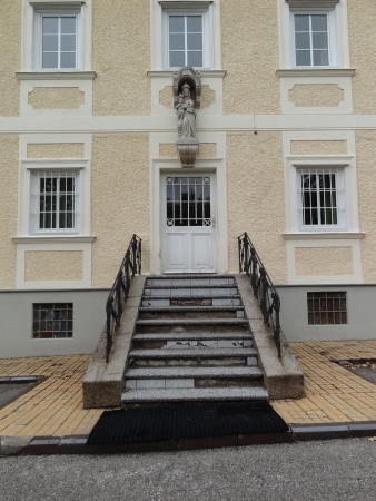 Side Door of Hunting Lodge and Carmelites Church in Mayerling, Austria