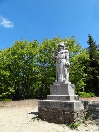 Beskydy Mountains, Czech Republic - May 19 2012: Statue of Radegast (Pagan God) by Albin Polasek