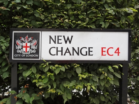 London, Great Britain - July 7 2012: New Change Street Sign