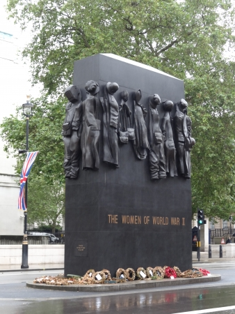 different jobs: London, UK - July 7 2012: The National Monument to the Women of World War II in Whitehall. It was unveiled on 9 July 2005 and the clothes on it symbolize different jobs women undertook in World War II.