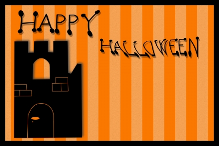spook: Halloween Card with Castle Stock Photo