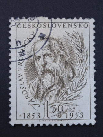 CZECHOSLOVAKIA - CIRCA 1953: A stamp printed in former CZECHOSLOVAKIA  shows Czech writer and poet Jaroslav Vrchlicky, circa 1953. Stock Photo - 17062991