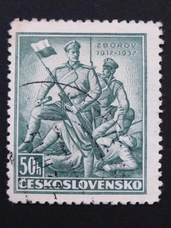 legionaries: CZECHOSLOVAKIA - CIRCA 1937: Stamp printed in former CZECHOSLOVAKIA commemorates 20th anniversary of Battle of Zborov, where Czech Legionaries fought, circa 1937.