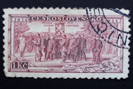 legionaries: CZECHOSLOVAKIA - CIRCA 1934: Stamp printed in former CZECHOSLOVAKIA commemorates 20th anniversary of Czechoslovak Foreign Legions, French battalion enrolling at Bayonne, circa 1934