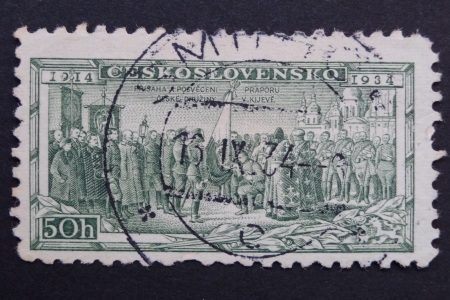 legionaries: CZECHOSLOVAKIA - CIRCA 1934: Stamp printed in former CZECHOSLOVAKIA commemorates 20th anniversary of Czechoslovak Foreign Legions, Consecrating Colours at Kiev, circa 1934
