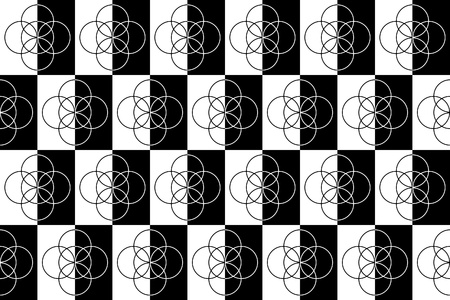 intersecting: Seamless Black and White Background with Intersecting Circles Stock Photo