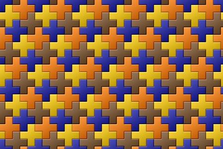 interlocking: Colorful Interlocking Crosses - seamless pattern Stock Photo