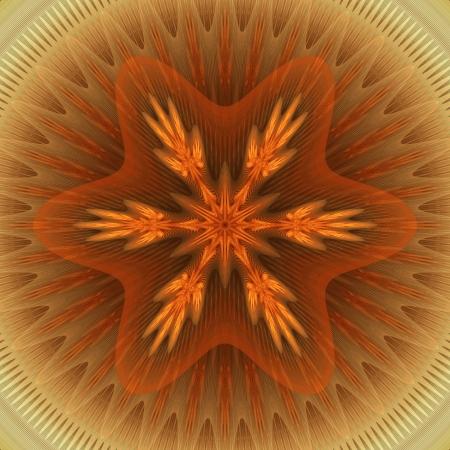 mahogany: Bright Mandala with Red Star Stock Photo