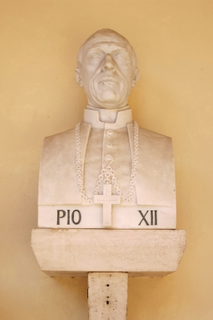 pius: Siena, Italy - August 1  Bust of Pope Pius XII in Sanctuary of Saint Catherine  Editorial