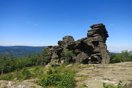 scarp: Obri skaly Giant Rocks in Jeseniky Mountains, Czech Republic - Frost Scarp of mica schist