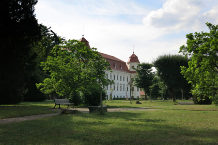 moravia: Holesov, Czech Republic - July 25 2017: Baroque castle and garden in Holesov, Czech Republic Editorial