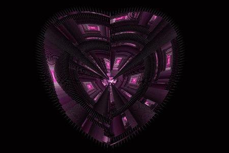 Pink fractal heart on black background