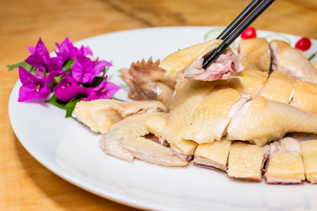 poached: Close up to poached chicken Stock Photo