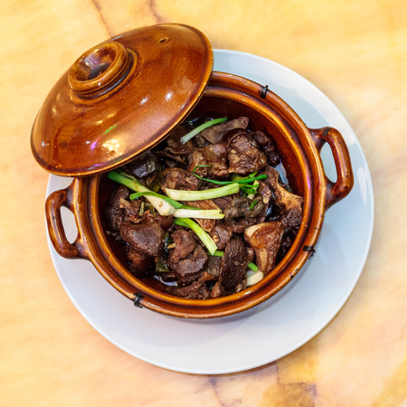 spiced: Lotus are spiced stew goat meat Stock Photo