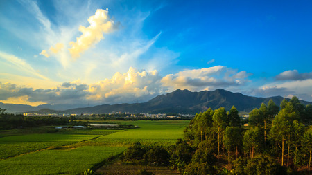 guangdong: China Guangdong countryside views scenery along the high-speed rail Stock Photo