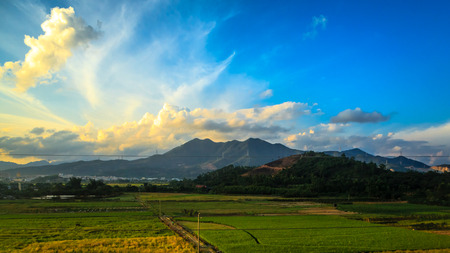guangdong: China Guangdong countryside views scenery along the high-speed rail Stock Photo