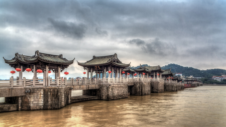 Chinese ancient city of Chaozhou Xiang Zi Bridge Редакционное