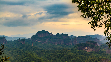 redstone: Danxia Mountain Nature scenery Stock Photo