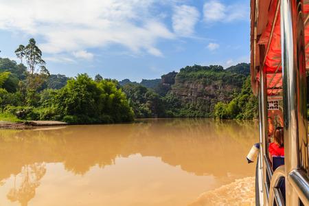 redstone: Danxia landscape and boat Stock Photo