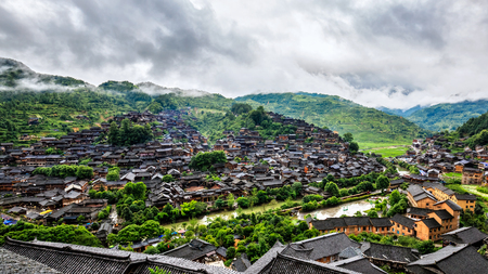 miao: Kaili Lei Shanjiang thousands of Miao Village Stock Photo