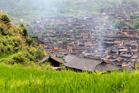 凱里レイ Shanjiang 何千ものミャオ族の村 写真素材 - 68062079