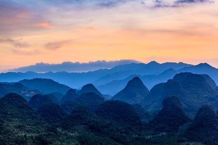 Wanshan mountain sunset scenery