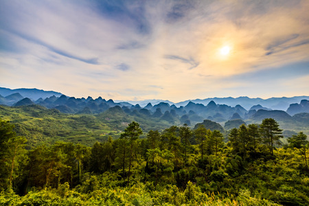 Wanshan sunset scenery Stock Photo