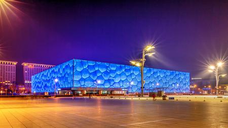 China National Aquatics Center (Cubo de agua) Foto de archivo - 78555044