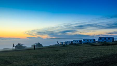 Inner Mongolia Hulunbeier tribal caravan camp Stock Photo