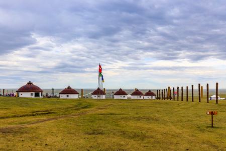 Inner Mongolia Hulunbeier Bayan Huoshu Mongolian tribes yurts Stock Photo