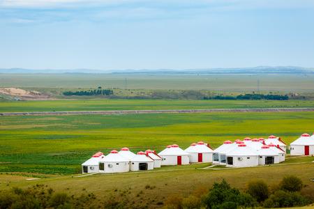 Inner Mongolia Hulunbeier Bayan Huoshu Mongolian tribes yurts Stok Fotoğraf