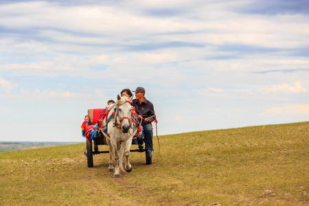 Inner Mongolia Hulunbeier Mongolia horse carriage
